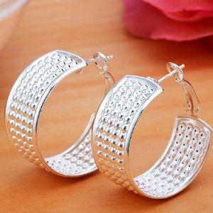 Sterling Plated Wide Textured Hoop Earrings